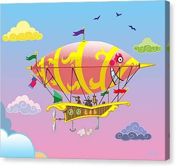 Rainbow Steampunk Dreamship Canvas Print by J L Meadows