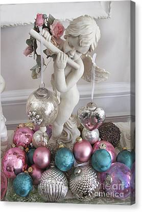 Angel Cherub Playing Flute With Christmas Holiday Ornaments - Shabby Chic Holiday Christmas Angel Canvas Print by Kathy Fornal