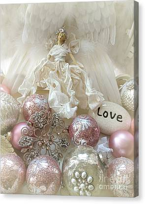 Dreamy Angel Christmas Holiday Shabby Chic Love Print - Holiday Angel Art Romantic Holiday Ornaments Canvas Print by Kathy Fornal