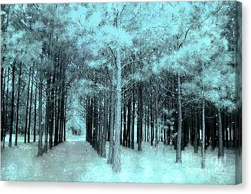 Dreamy Aqua Mint Teal Fantasy Fairytale Trees Woodlands And Stars Canvas Print by Kathy Fornal