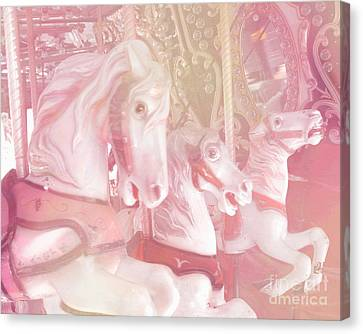 Dreamy Baby Pink Merry Go Round Carousel Horses - Dreamy Pink Carousel Horses Canvas Print by Kathy Fornal