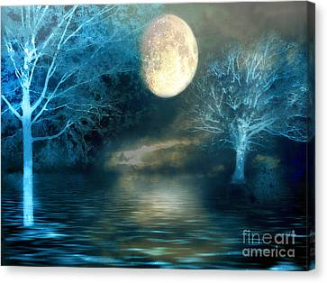 Dreamy Blue Moon Nature Trees - Surreal Full Blue Moon Nature Trees Fantasy Art Canvas Print by Kathy Fornal