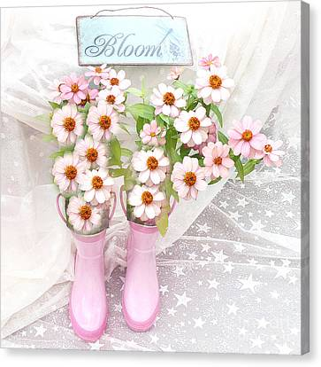 Dreamy Cottage Garden Art - Shabby Chic Pink Flowers Garden Bloom With Pink Rain Boots Canvas Print by Kathy Fornal