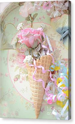 Dreamy Cottage Shabby Chic Romantic Floral Art With Waffle Cone And Party Ribbons Canvas Print by Kathy Fornal