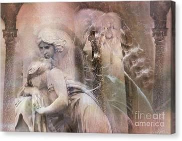 Dreamy Ethereal Sad Morning Angel Art - Spiritual Ghostly Angel Art Photos Canvas Print by Kathy Fornal