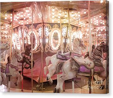 Dreamy Pink Carnival Carousel Merry Go Round Horses Festival Carousel Horses Sparkling Lights Canvas Print by Kathy Fornal