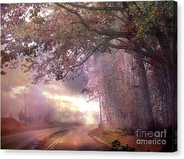 Dreamy Pink Nature Landscape - Surreal Foggy Scenic Drive Nature Tree Landscape  Canvas Print by Kathy Fornal