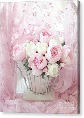 Dreamy Shabby Chic Basket Of Pink And White Peonies - Vintage Pink White Peony Basket Floral Art Canvas Print by Kathy Fornal