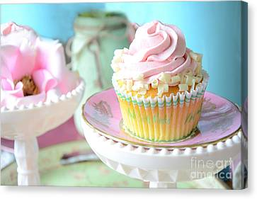 Dreamy Shabby Chic Cupcake Vintage Romantic Food And Floral Photography - Pink Teal Aqua Blue  Canvas Print by Kathy Fornal