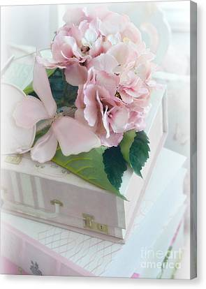 Dreamy Shabby Chic Pink Hydrangea - Romantic Cottage Chic Vintage Pastel Hydrangea Floral Art Canvas Print by Kathy Fornal