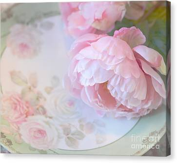 Dreamy Shabby Chic Pink Peonies - Romantic Cottage Chic Vintage Pastel Peonies Floral Art Canvas Print by Kathy Fornal