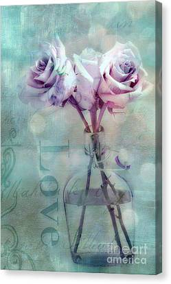 Dreamy Shabby Chic Pink Roses Teal Aqua Impressionistic Cottage Pink And Teal Love Print Canvas Print by Kathy Fornal