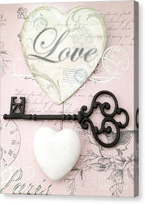 Dreamy Shabby Chic Romantic Valentine Heart Love Skeleton Key And Hearts Canvas Print by Kathy Fornal