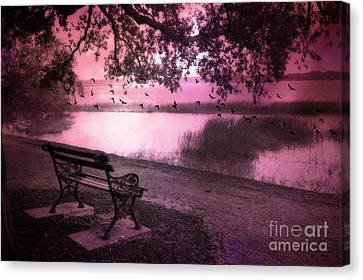 Dreamy Surreal Beaufort South Carolina Lake And Bench Scene Canvas Print by Kathy Fornal