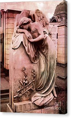 Dreamy Surreal Beautiful Angel Art Photograph - Angel Mourning Weeping At Gravestone  Canvas Print by Kathy Fornal