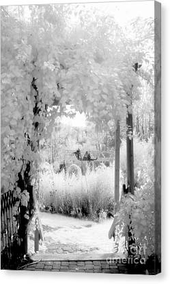 Dreamy Surreal Black White Infrared Arbor Canvas Print by Kathy Fornal