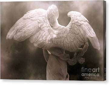 Dreamy Surreal Ethereal Angel Art Wings - Spiritual Ethereal Angel Art Wings Canvas Print by Kathy Fornal