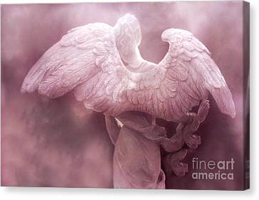 Dreamy Surreal Ethereal Pink Angel Art Wings Canvas Print by Kathy Fornal