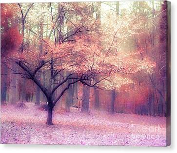 Dreamy Surreal Fall Autumn Ethereal Trees Nature Landscape South Carolina Nature Landscape Canvas Print by Kathy Fornal