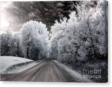 Dreamy Surreal Infrared Country Road Landscape Canvas Print by Kathy Fornal