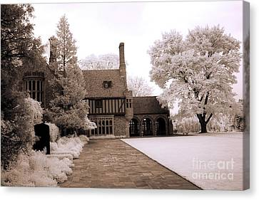 Dreamy Surreal Infrared Michigan Meadowbrook Mansion Landscape Canvas Print by Kathy Fornal