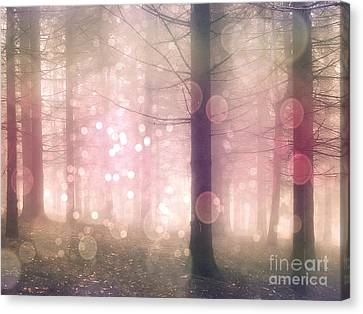 Dreamy Surreal Pink Pastel Fairytale Nature Trees With Bokeh Circles - Fantasy Pink Nature Canvas Print by Kathy Fornal