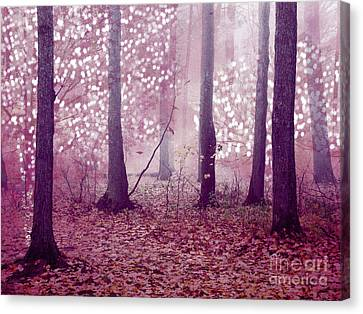 Dreamy Surreal Sparkling Twinkling Lights Pink Mauve Woodlands Tree Nature Canvas Print by Kathy Fornal