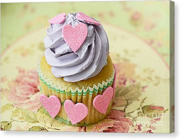 Dreamy Valentine Cupcake Pink Hearts Romantic Food Photography  Canvas Print by Kathy Fornal