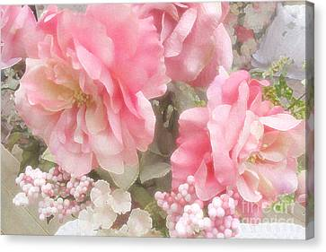 Dreamy Vintage Cottage Shabby Chic Pink Roses - Romantic Roses Canvas Print by Kathy Fornal