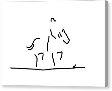 Dressage Horse Rider Canvas Print by Lineamentum