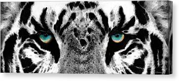 Dressed To Kill - White Tiger Art By Sharon Cummings Canvas Print by Sharon Cummings