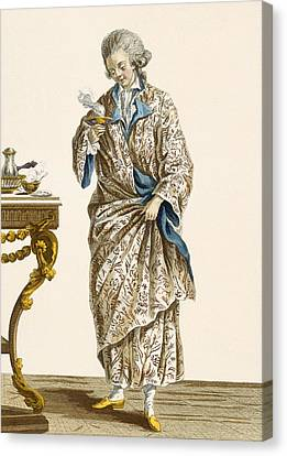 Dressing Gown In Printed Cotton Canvas Print by Pierre Thomas Le Clerc