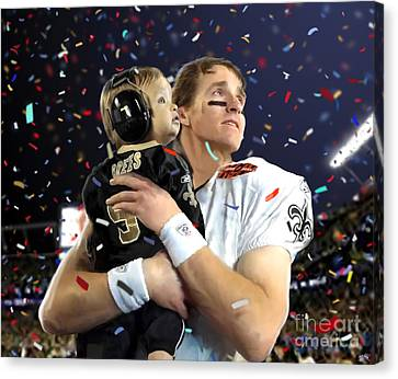 Drew Brees Canvas Print by Paul Tagliamonte