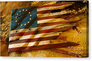 Driftwood Flag Canvas Print by Cheryl Young