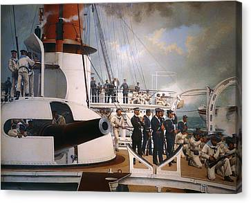 Drill On A French Naval Vessel Canvas Print by Mountain Dreams