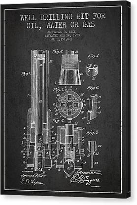 Drilling Bit For Oil Water Gas Patent From 1920 - Dark Canvas Print by Aged Pixel