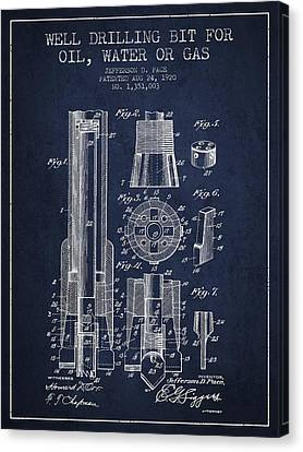 Drilling Bit For Oil Water Gas Patent From 1920 - Navy Blue Canvas Print by Aged Pixel
