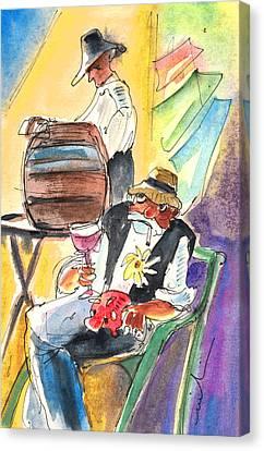 Drinking Wine In Lanzarote Canvas Print by Miki De Goodaboom