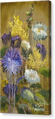 Drippy Bouquet With Gold Leaf By Vic Mastis Canvas Print by Vic  Mastis