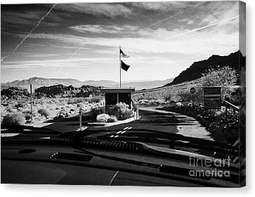 Driving Along Road Down To Entrance To Valley Of Fire State Park Valley Of Fire Highway Nevada Usa Canvas Print by Joe Fox
