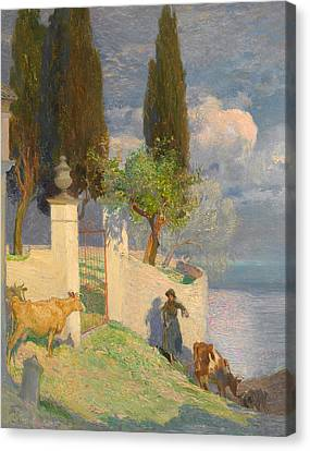 Driving Cattle Lake Como Canvas Print by Joseph Walter West
