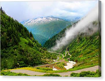 Driving To The Clouds... Grimsel Pass Switzerland  Canvas Print by Julia Fine Art And Photography