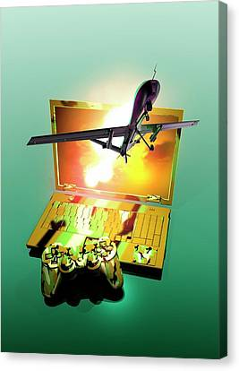 Drone And Games Console Canvas Print by Victor Habbick Visions