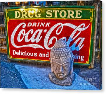 Drug Store Buddha Canvas Print by Gregory Dyer