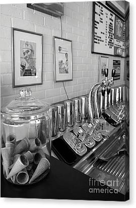 Drug Store Soda Fountain Canvas Print by Mel Steinhauer