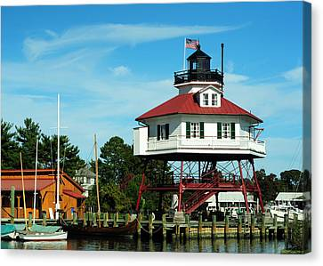 Drum Point Lighthouse Canvas Print by Rebecca Sherman