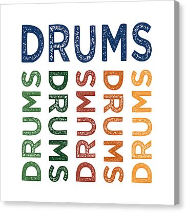 Drums Cute Colorful Canvas Print by Flo Karp