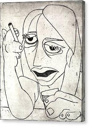 Drunk Girl Canvas Print by Thomas Valentine