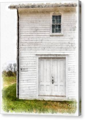 Dry House Canterburry Shaker Villiage Watercolor Canvas Print by Edward Fielding