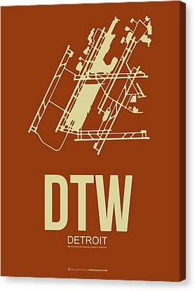 Dtw Detroit Airport Poster 2 Canvas Print by Naxart Studio